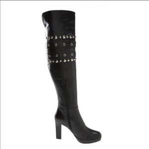 Stuart Weitzman OTK Studded Carnaby Boots Black 7